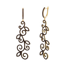 Black Rhodium Under Black Spinel CZ Swirl Yellow Sterling Silver Hoop Earrings - $178.19