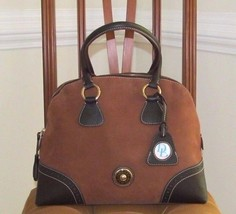 Dooney & Bourke Brown Nubuck And Pebbeld Leather Domed Satchel Bag $598.+ - $297.00