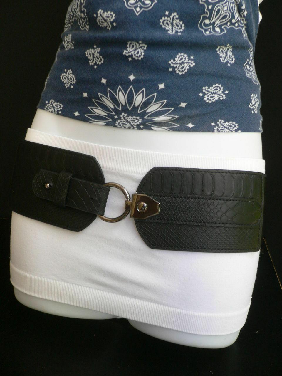 Cinturón para Dama Moda Hip Cintura Elástico Negro Ancho Imitación Piel de image 12