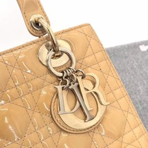 Authentic Christian Dior Lady Dior Medium Beige Patent Shoulder Tote Bag GHW image 7