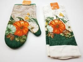 Kitchen Oven Mit & Dish Towel w/ Pumkims Set. Fall Autumn Harvest. Women... - $11.85