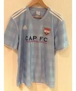 CAP FC UNITED SHORT SLEEVE ADIDAS Light BLUE JERSEY SHIRT SIZE Large EUC - $14.95