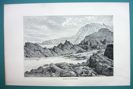 ENGLAND Rocks of Ilfracombe - 1890s Antique Print - $8.55