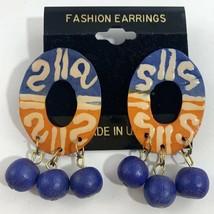 Vintage Colorful Wooden Dangle Earrings Blue Orange Beaded Ethnic NOS 80... - $11.10