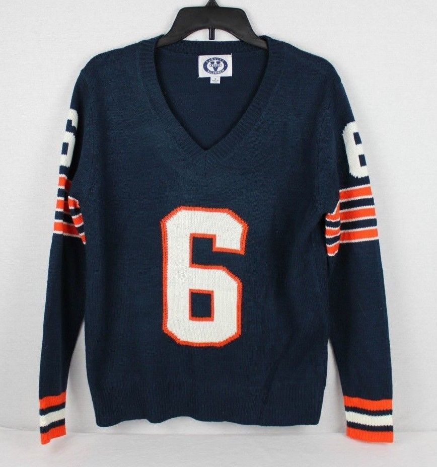 Primary image for Varsity V raggs All American sweater knit blue orange acrylic vintage size S