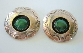 Vintage Navajo Sterling Silver Malachite Shadowbox Earrings Posts Signed JJ - €33,37 EUR