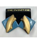 Vintage Big Blue Enamel Brass Tone Statement Earrings Large 80s 90s NOS - $10.26