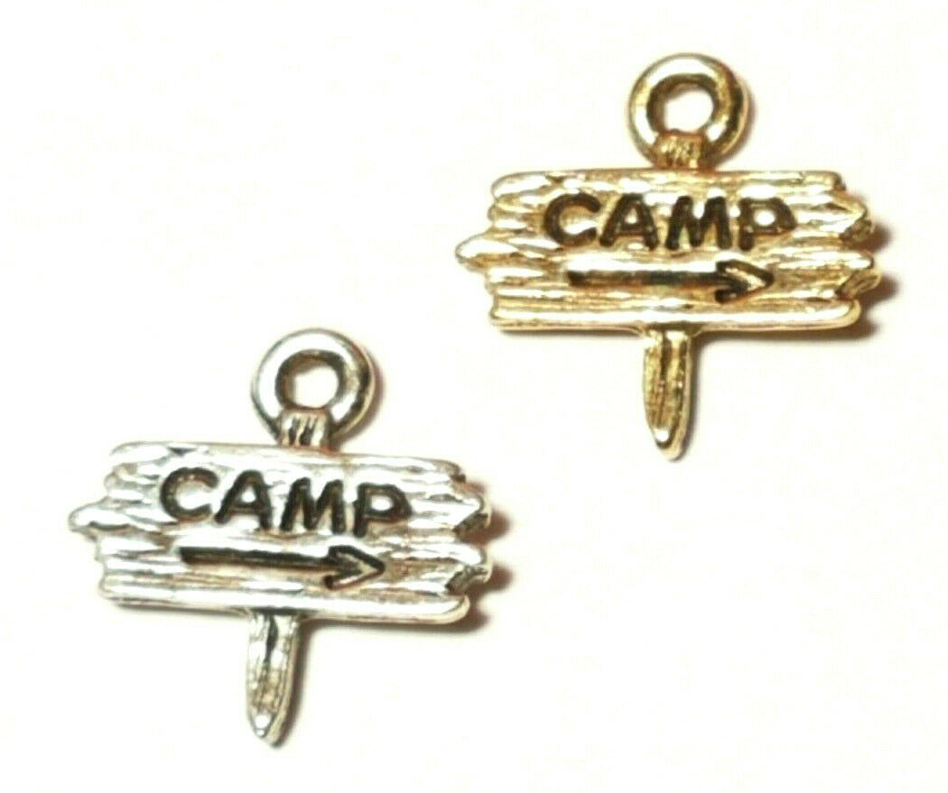 THIS WAY TO THE CAMP SITE FINE PEWTER PENDANT CHARM 14mm L x 14mm W x 3mm D