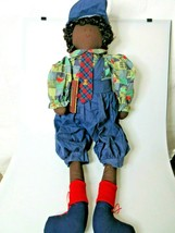"Black Americana Fabric Doll Student Youth In Overalls 32"" Green Tree Pro... - $59.97"