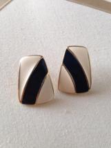 Vintage Trifari White Black Striped Enamel Abstract Square Fashion Earrings - $35.00