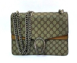 Authentic GUCCI Beige Leather Dionysus GG Supreme Large Shoulder Bag  40... - $1,183.05