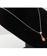 ANCIENT SILVER PLATED KABBALAH EYE CHARM TEAR DROP RED ENAMEL PENDANT NE... - $6.99