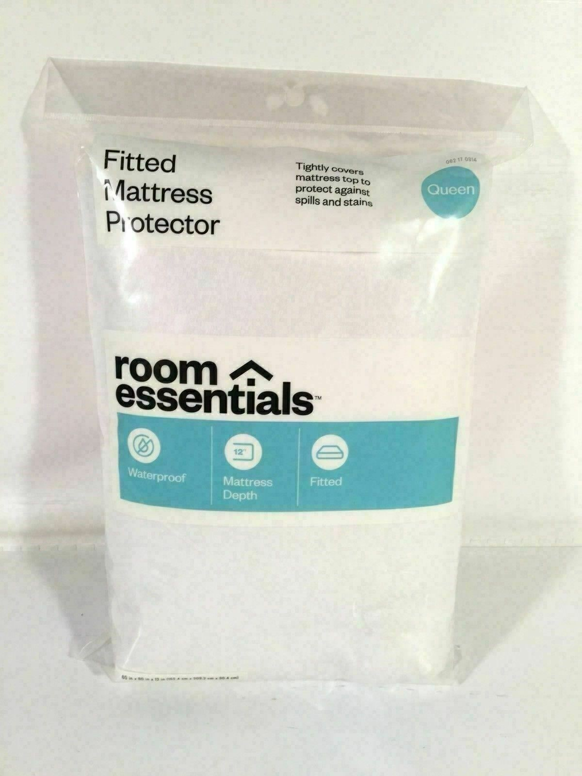 Room Essentials Fitted Mattress Protector Queen Size White