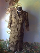 Le Suit Petite women's Olive Green 3/4 Sleeve Skirt Suit Size 8P - $39.59