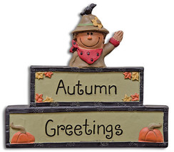 Country AUTUMN GREETINGS BLOCK Pumpkins Leaves Fall Decor Farmhouse Rustic - $37.48 CAD