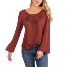 Faded Glory Women's Embroidered Shirt With Cross Back Detail Size Small 4-6 Rust - $16.82