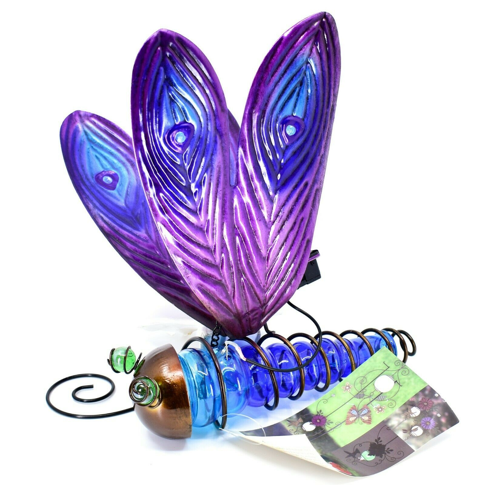 Painted Metal & Glass Solar Powered Light Garden Decoration Dragonfly Decor