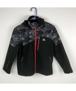 Snozu Boy M 10/12 Full Zip Hooded Softshell Jacket Gray Red Camo C-1 - $21.77