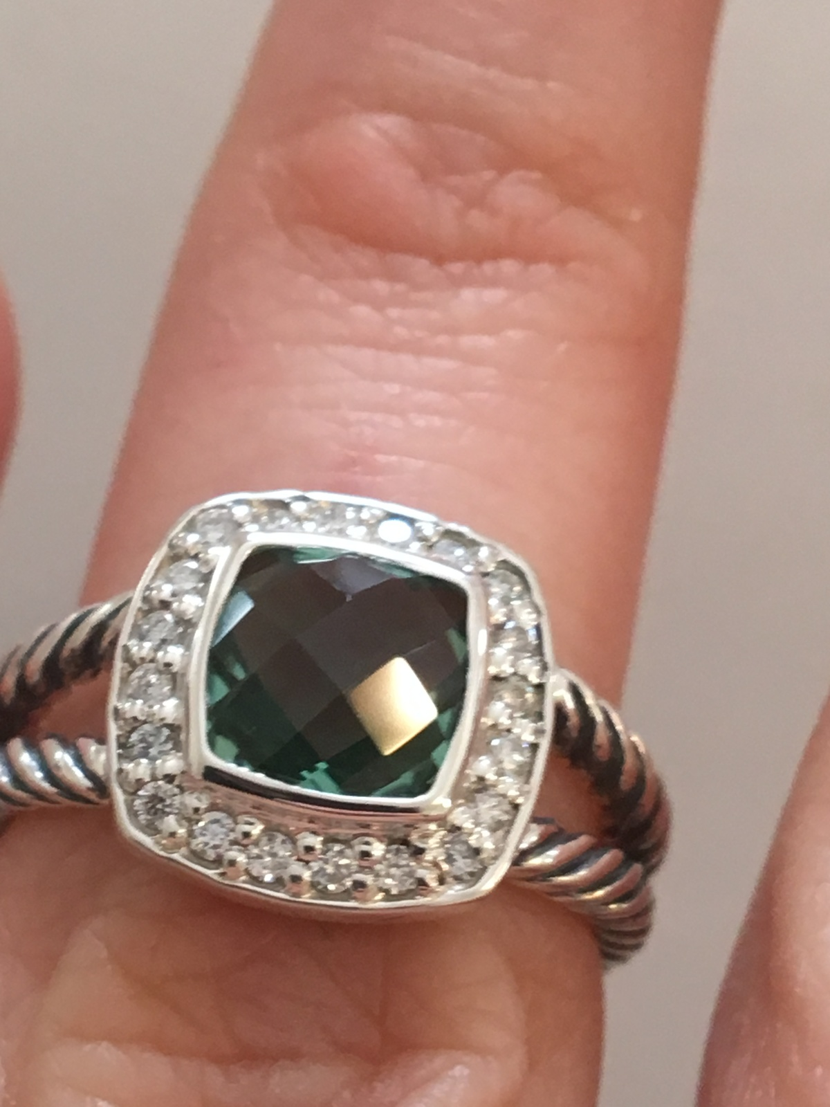 Pre Owned David Yurman Petite Albion  Prasiolite  and Diamond Ring Size 6