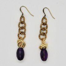 Drop Earrings Aluminum Laminated Yellow Gold with Amethyst Purple Oval image 1
