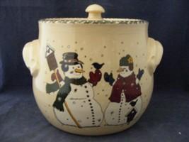 Home & Garden Party Christmas Cookie Jar Stoneware Micro & Dishwasher Safe - $19.95