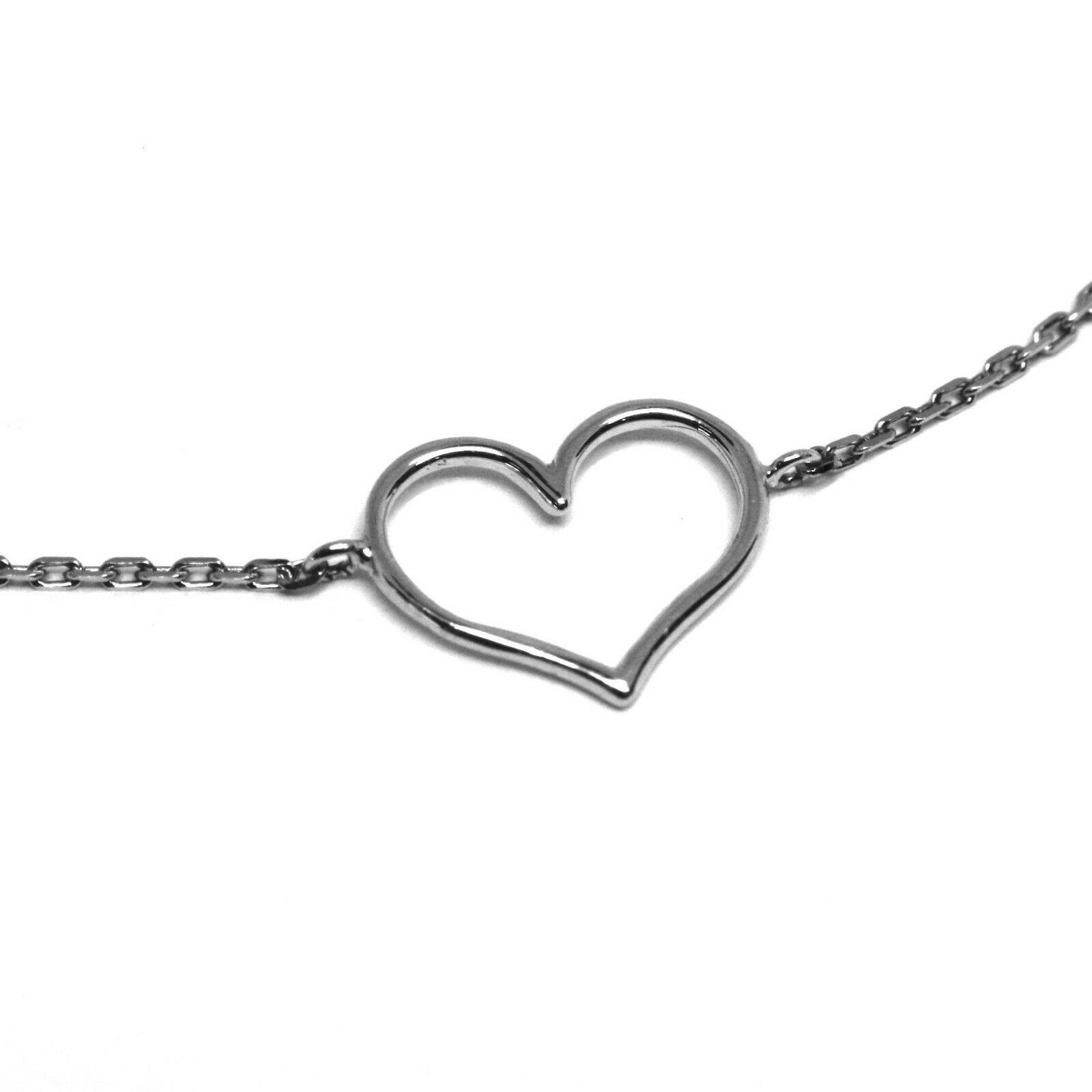 Armband Weißgold 18k 750, Herz Zentrale Perforiert, Länge 16-18 Cm