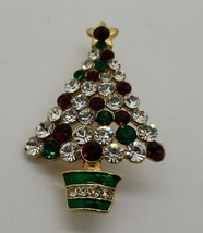 Vintage gold tone red green white rhinestone Christmas holiday tree broo... - $27.23