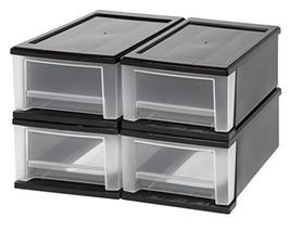 IRIS 7 Quart Stacking Drawer, 4 Pack, Black - $33.48