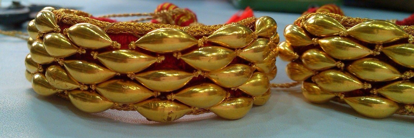 VINTAGE TRADITIONAL HANDMADE 22K GOLD JEWELRY BEADS BRACELET BANGLE PAIR PUNCHI