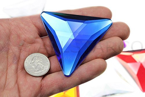 68mm Blue Sapphire H104 Flat Back Triangle Acrylic Gems Pro Grade Individually W