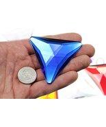 68mm Blue Sapphire H104 Flat Back Triangle Acrylic Gems Pro Grade Indivi... - $9.26