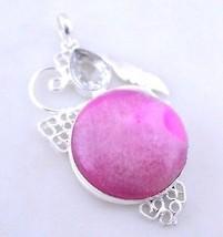 Solar Druzy-White Topaz Silver Overlay Handmade Pendant Jewelry 19 Gr. F... - $0.99