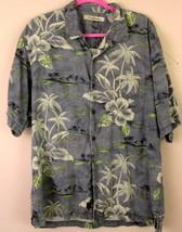 Tommy Bahama Shirt Large Gray Floral Island Pattern 100% Silk Large Mens - $11.83