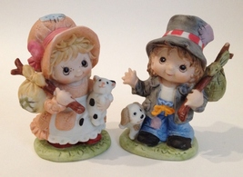Boy Girl Hobo Statue Figurine Puppy Dog Kitty Cat Painted Porcelain Pet Homco - $23.00