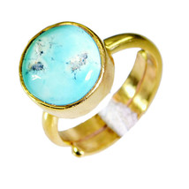 fine Turquoise Gold Plated Multi Ring Natural Designer US gift - $24.99