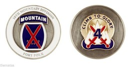 "ARMY FORT POLK 10TH MOUNTAIN DIVISION CLIMB TO GLORY 1.75"" CHALLENGE COIN - $16.24"
