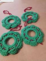 Set Of 4 Homemade Crocheted Wreath Christmas Tree Ornaments  - $12.07