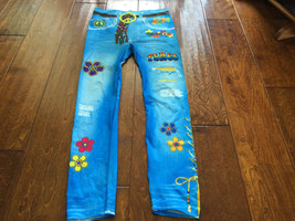 hippie halloween pants, 26 x 27 inches, Thin Fabric Faux Jean - $8.17