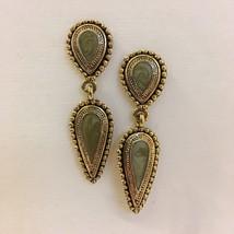 Green Enamel Earrings Tear Drop Ornate Antique Gold Tone Metal Pierced Post - $25.00