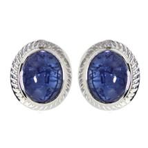 Bezel Set Tanzanite Cabochon 925 Sterling Silver Women/Girl Stud Earring... - $7.06