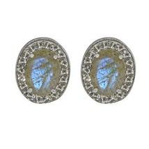 Genuine Labradorite, White Topaz Gemstone 925 Solid Silver Stud Earring - $37.09
