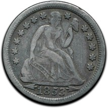 1853 Silver Seated Dime 10¢ Coin Lot# A 437