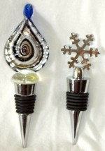 2 Stainless Steel Wine Stoppers Twisted Deco Cobalt Blue Art Glass Top S... - $28.49
