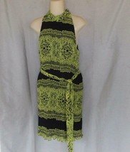 Forever 21 dress M yellow/green accordion pleated Mandarin collar lined - $15.63
