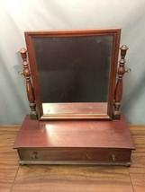 Solid Mahogany Antique Wood Tabletop Mirror Mens Shaving Vanity Drawer M... - $247.49