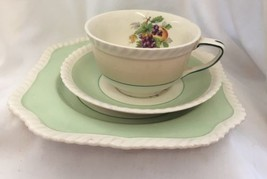 Johnson Bros Green And White Vintage Cup Saucer Snack Set - $17.81