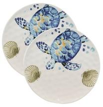 Marine Blue Sea Turtle And Golden Sea Shells Ceramic Dinner Plates Set Of 2 - $34.99