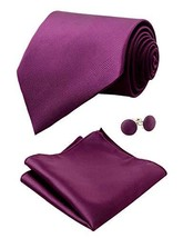 Alizeal Mens Solid Color Tie, Handkerchief and Cufflinks Set Dark Purple