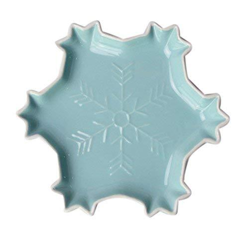 Primary image for Creative Cute Ceramic Party Meal Plate, Blue Snowflake