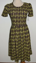 New LuLaRoe Dress Amelia Purple Neon Short Sleeve Pleated A-Line Zipper XS - $28.04